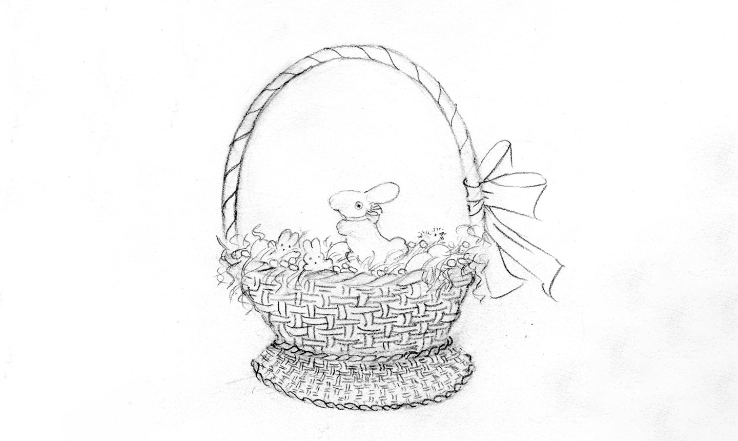 filled easter basket drawing