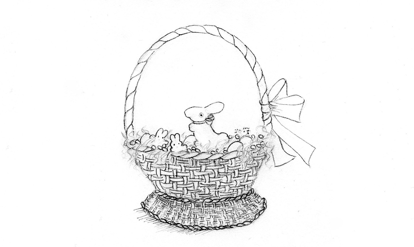 pen and ink easter basket drawing