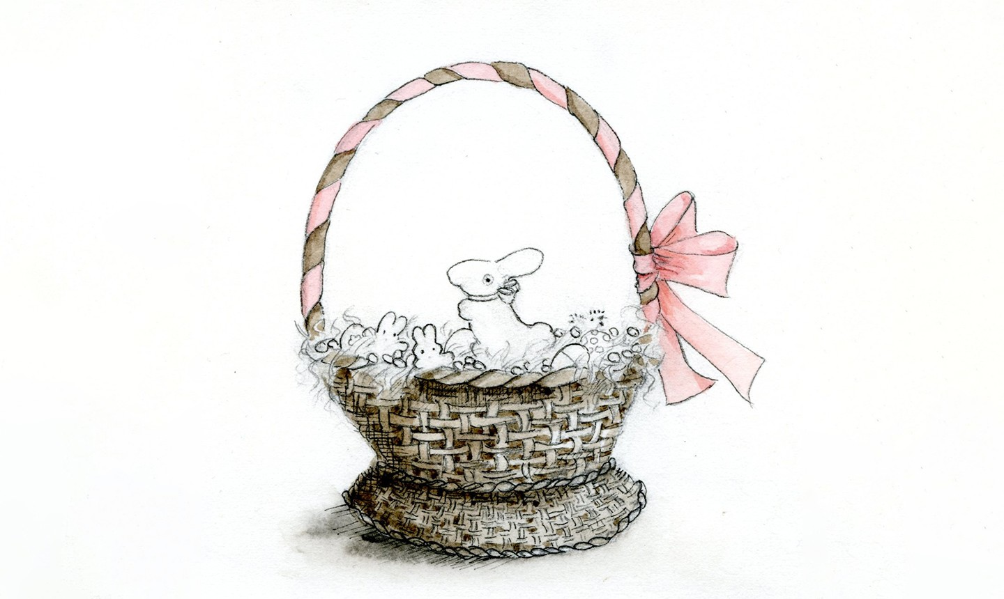 adding color to easter basket drawing