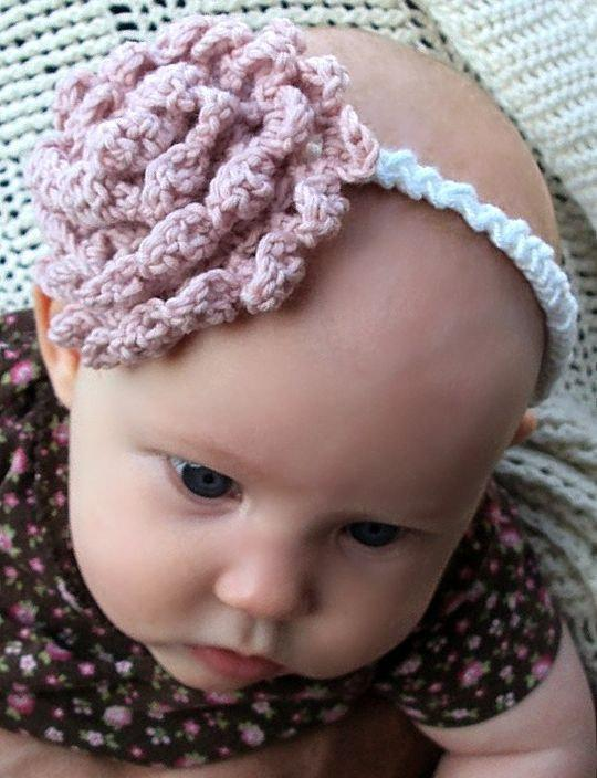 crochet carnation headband