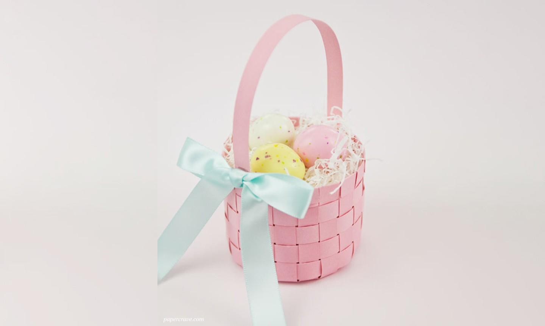 pink paper easter basket