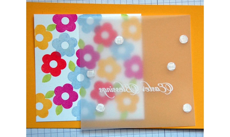 securing vellum on card