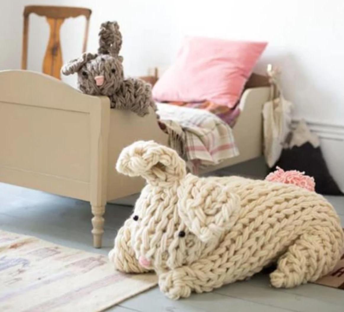 giant yarn arm knit bunny