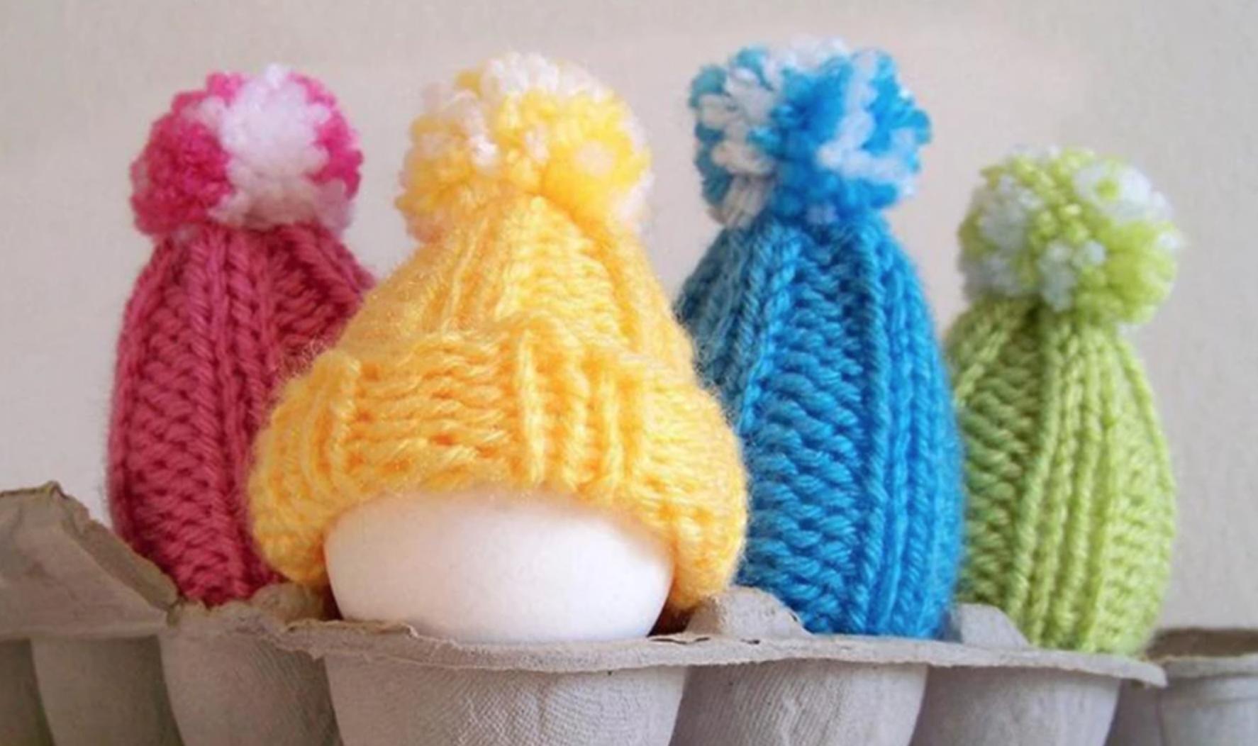 bright pom pom knit hats