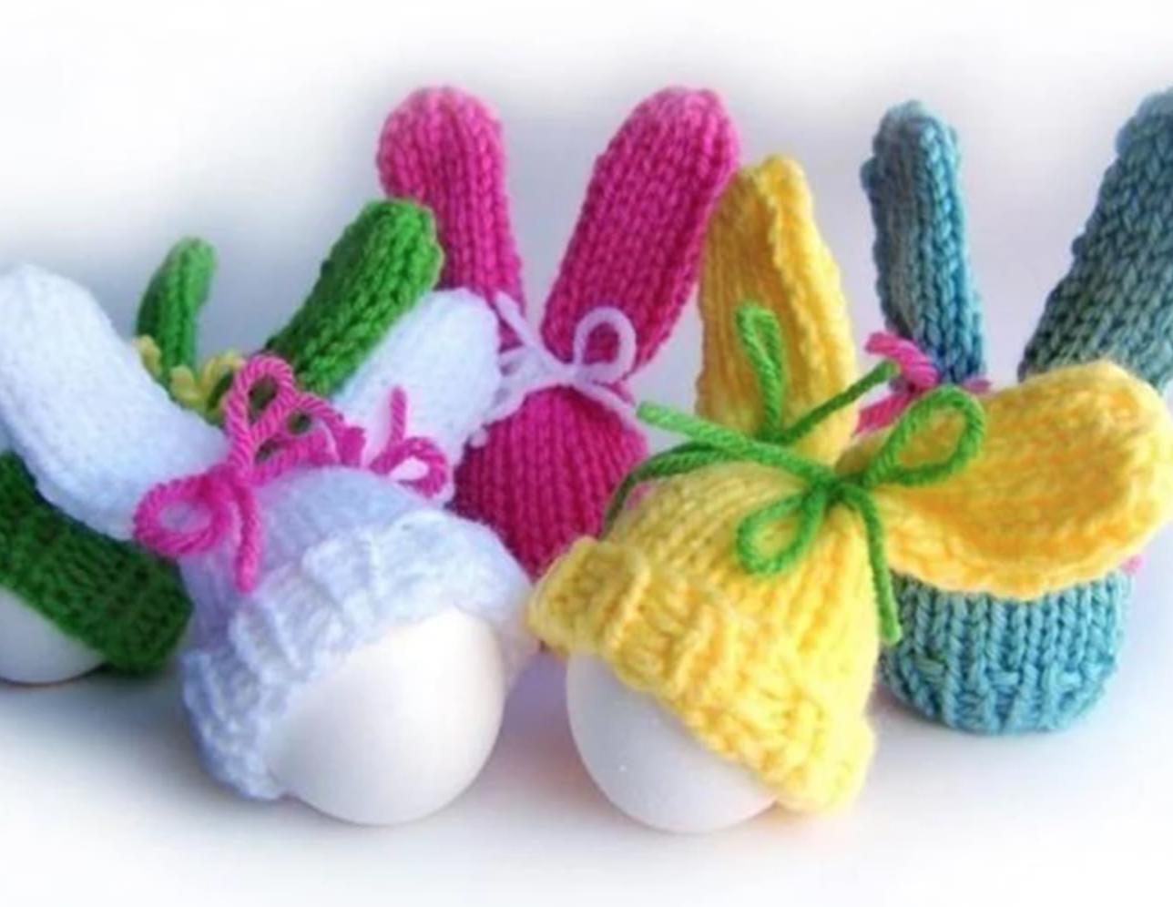 eggs wearing knit bunny ears