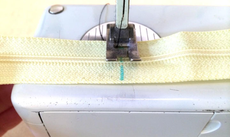 sewing yellow zipper