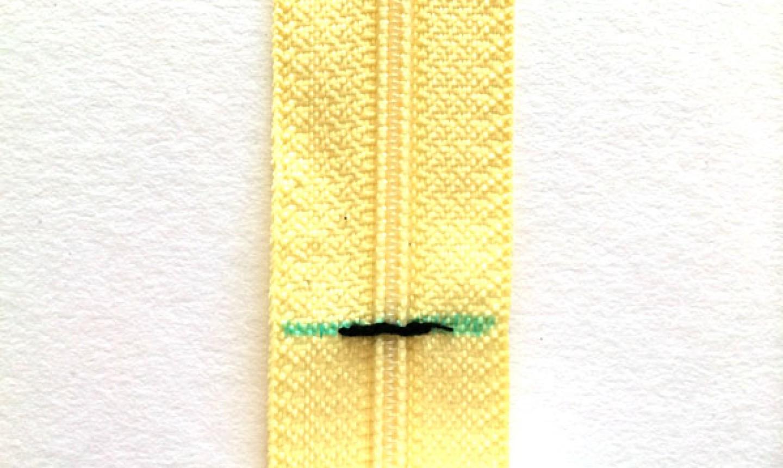 sewn yellow zipper