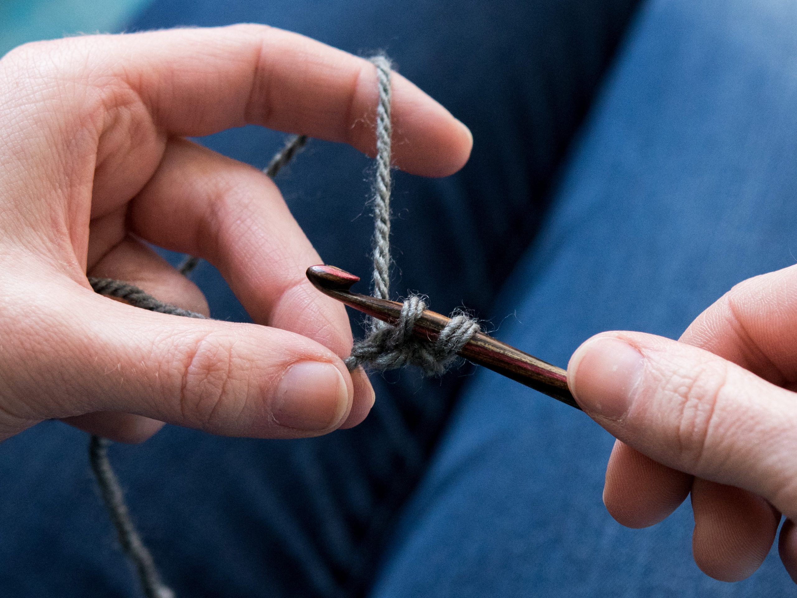 Crocheting with a hook