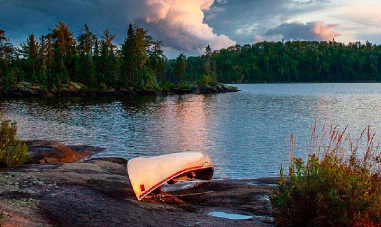 canoe on river bank