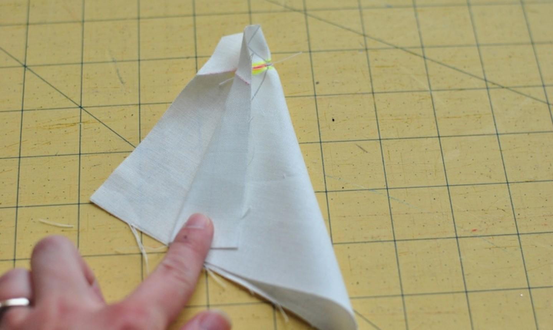 stitched line on napkin