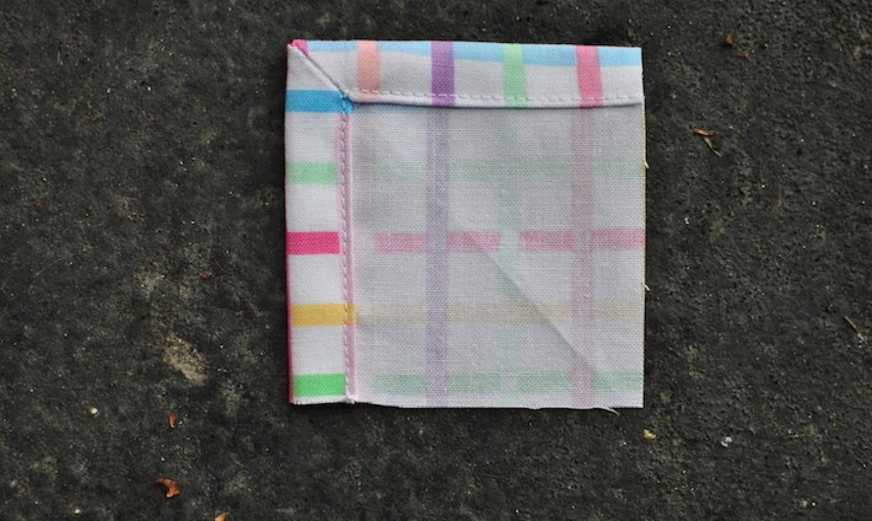 topstitch mitered napkin
