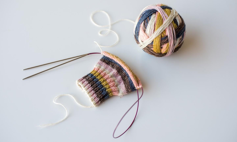 colorful magic loop sock