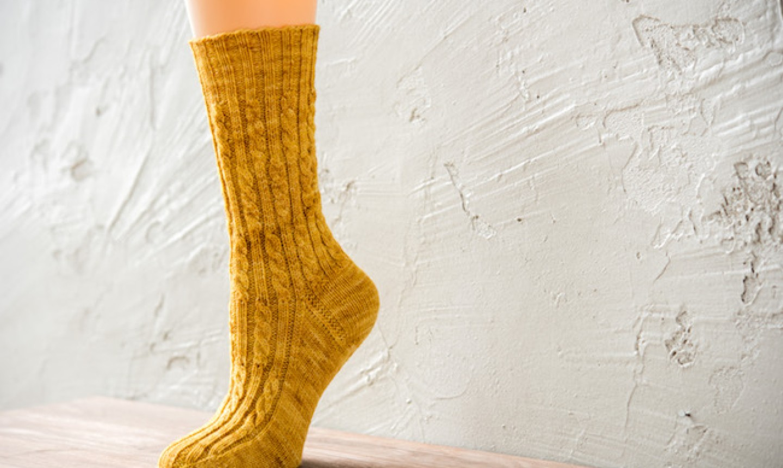 knit golden sock