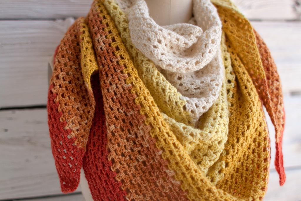 ombre granny square shawl