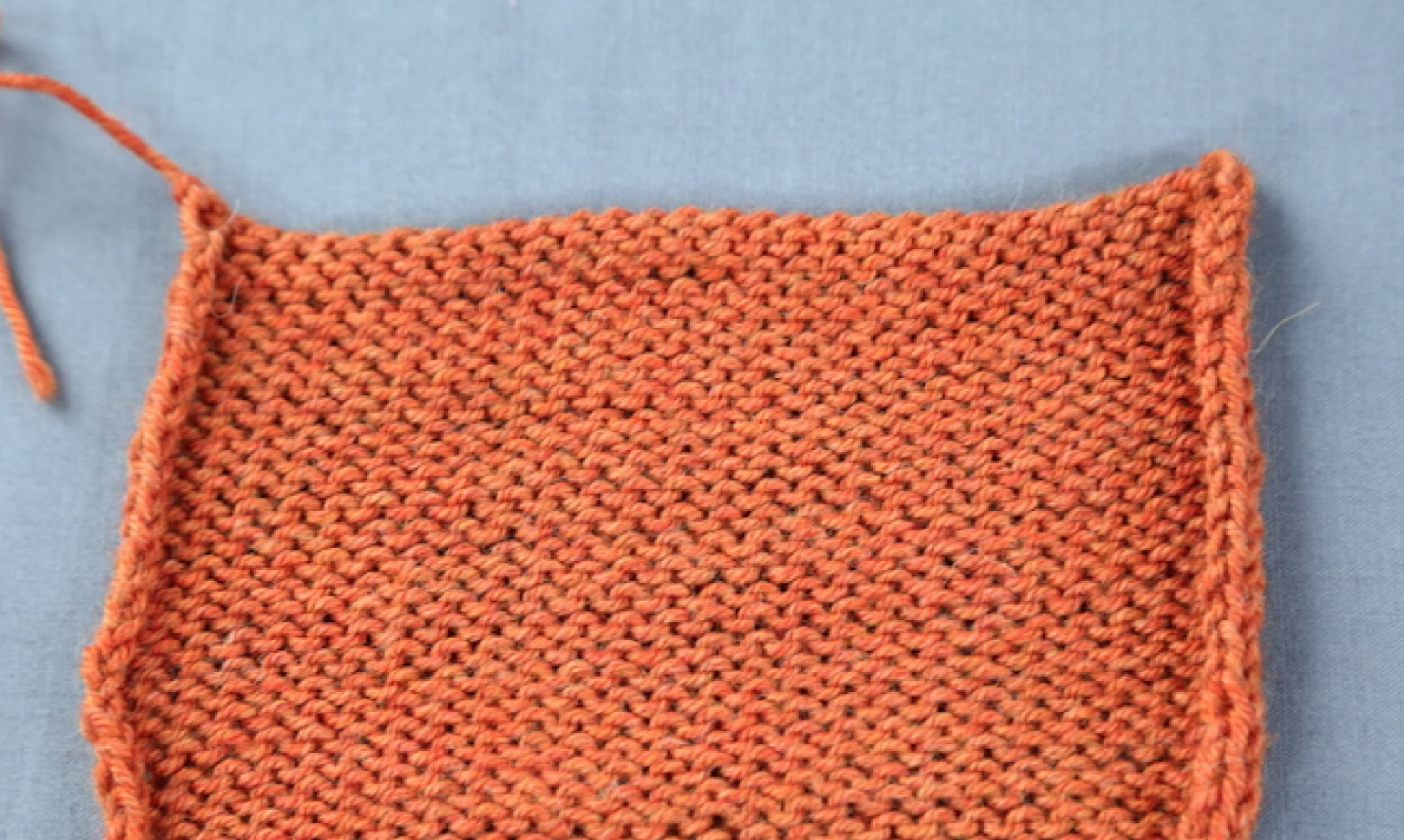 curling stockinette stitch swatch