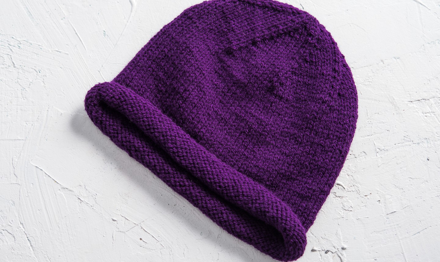 purple stockinette hat
