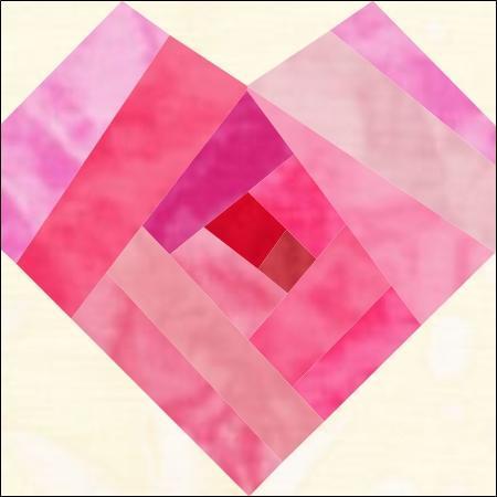 log cabin heart paper piecing pattern