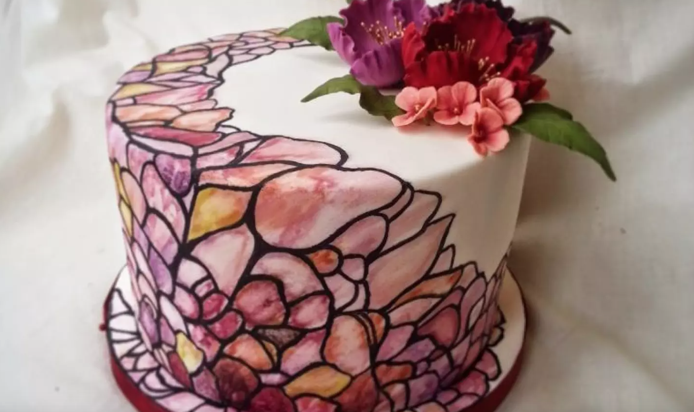 cake decorated with piping gell