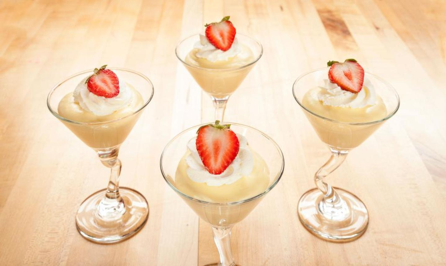 desserts with whipped cream and strawberries