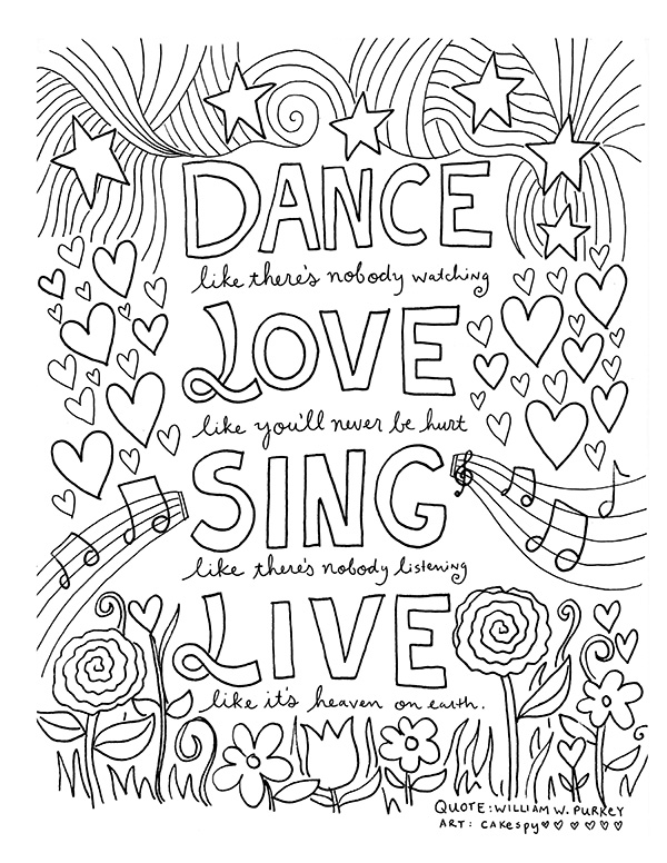 FREE Coloring Book Pages For Grown-Ups: Inspiring Quotes Craftsy