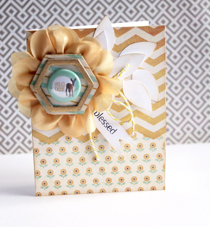card with ribbon and trim