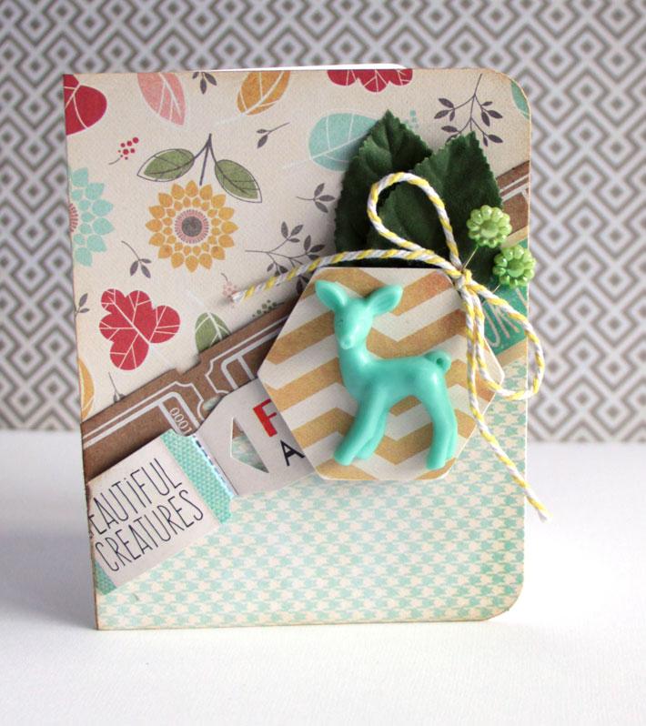 card with resin deer