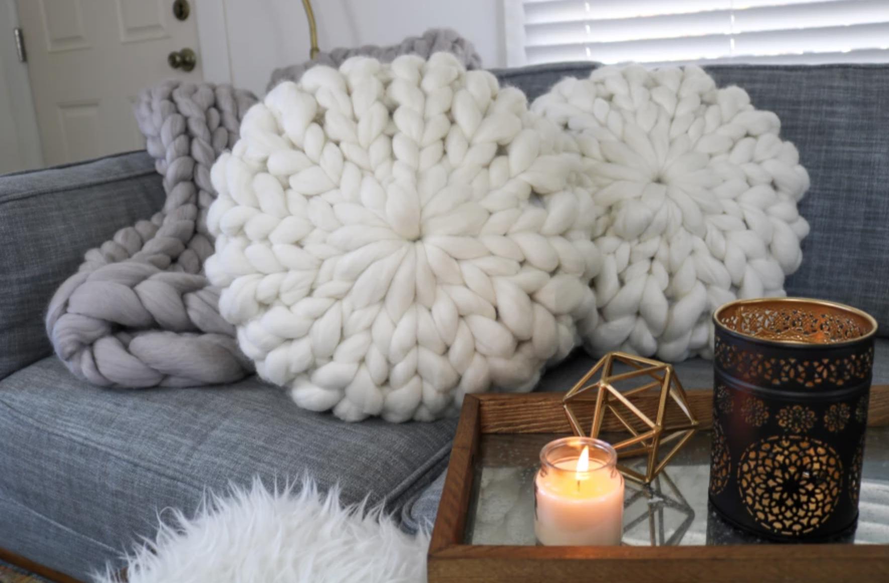giant yarn pillow