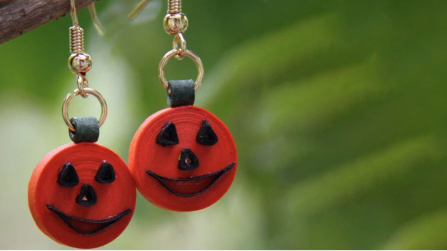 quilled jack-o-lantern earrings