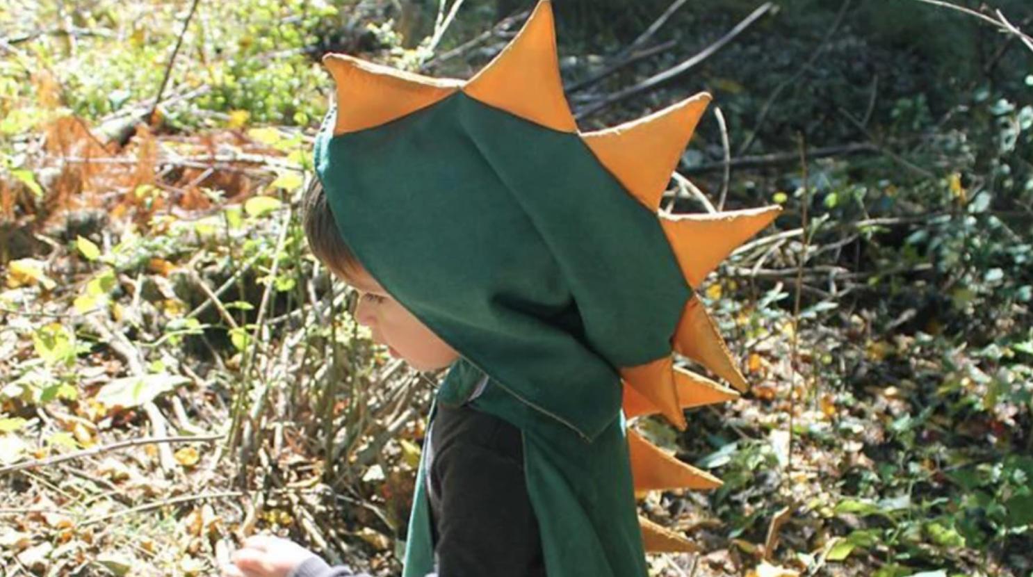 child wearing dinosaur cape