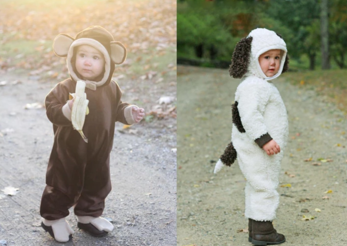 toddlers in puppy and monkey costumes