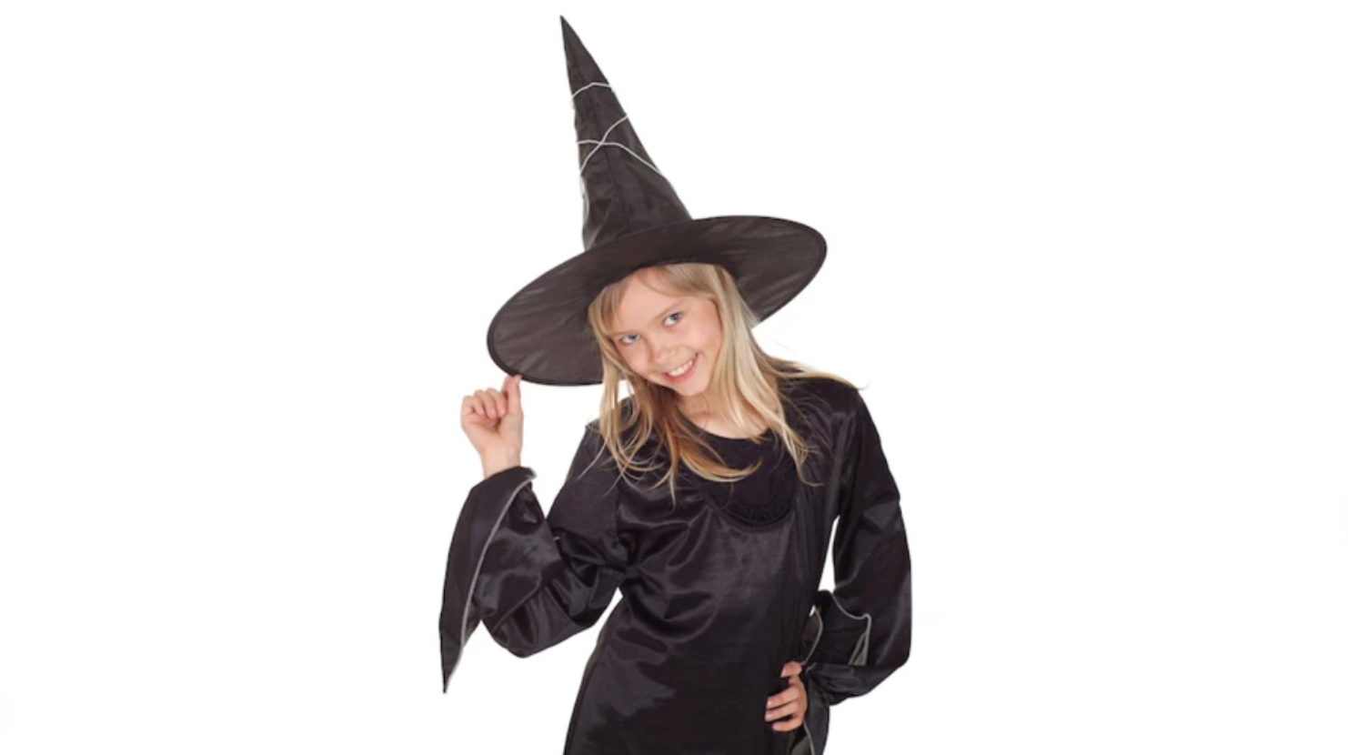 girl wearing a witch costume