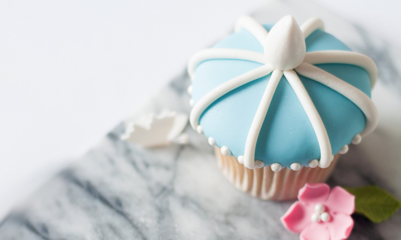 blue and white fondant cupcake