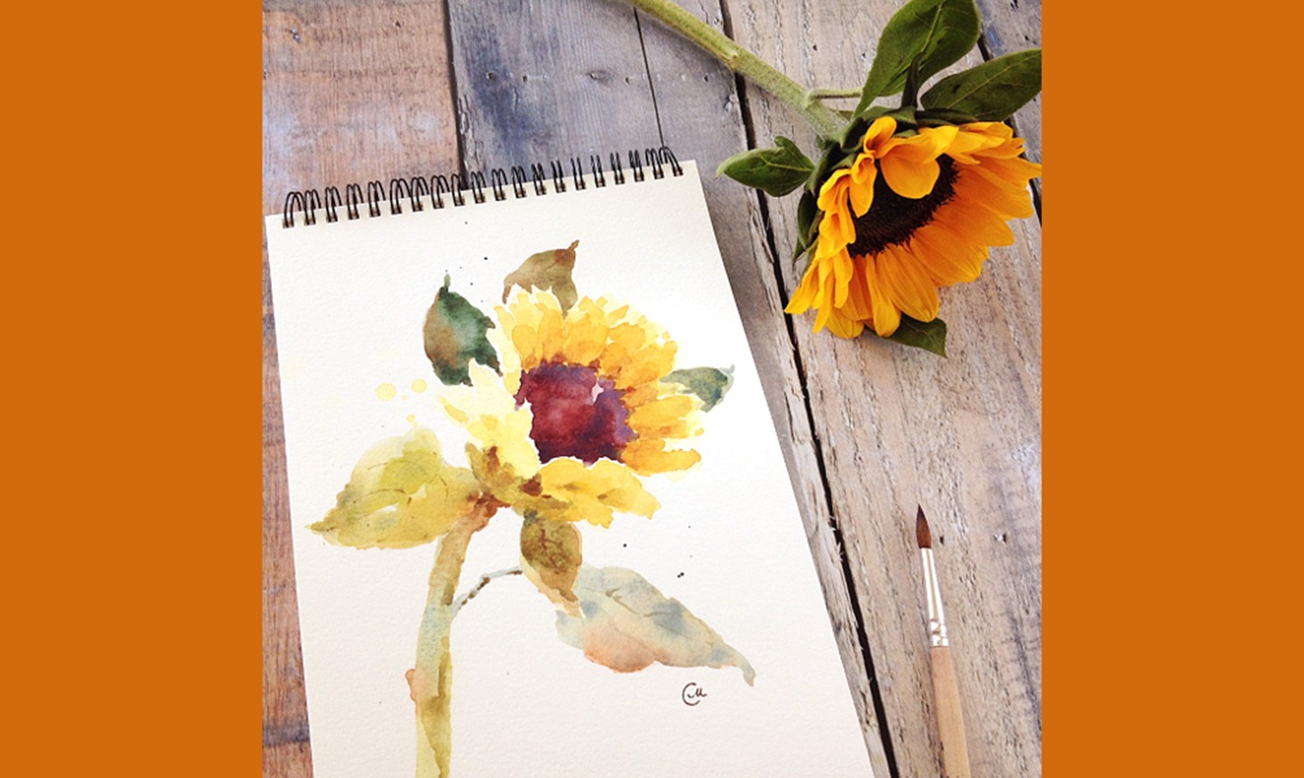 sunflower watercolor sketch
