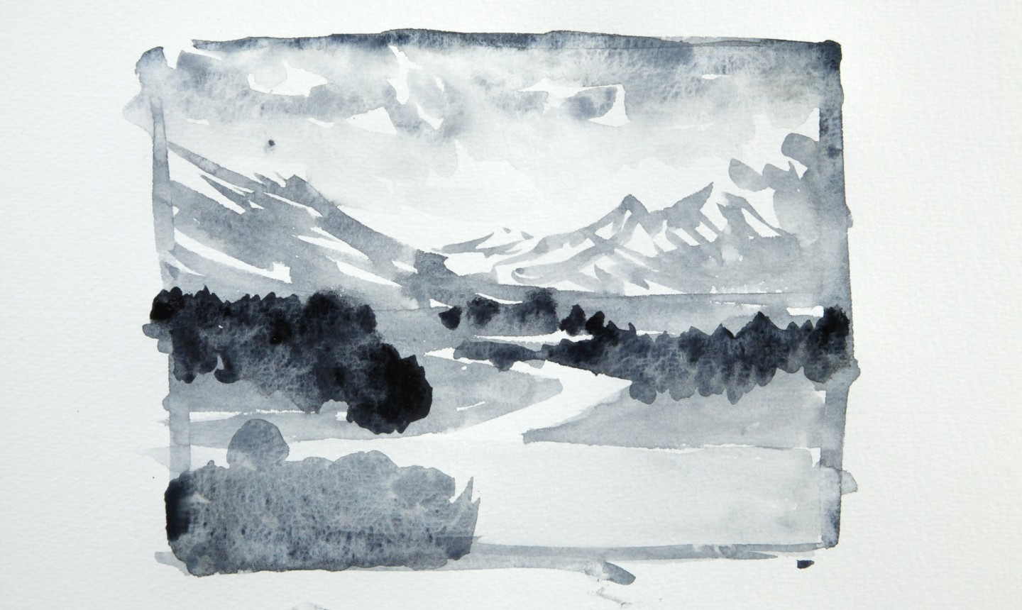 mountain watercolor sketch