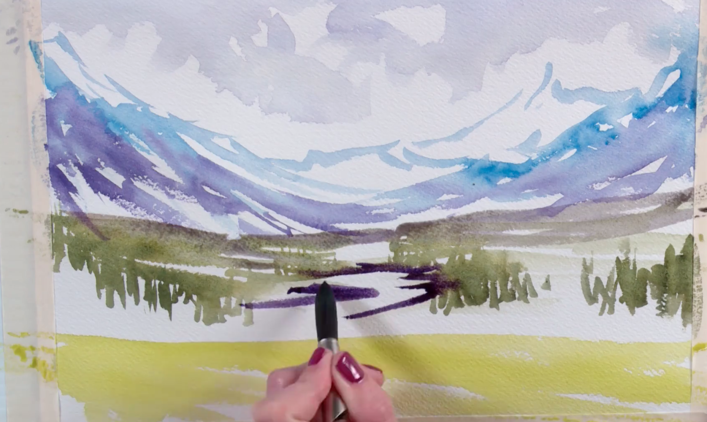painting mountain watercolor sketch