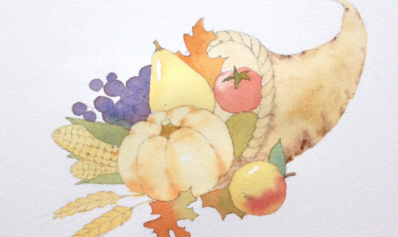 Painted cornucopia sketch