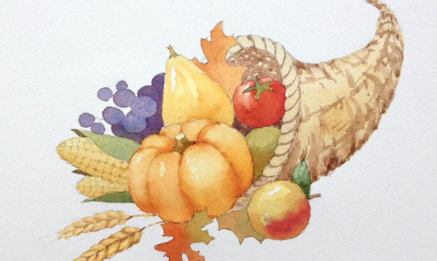 Additional paint on cornucopia sketch