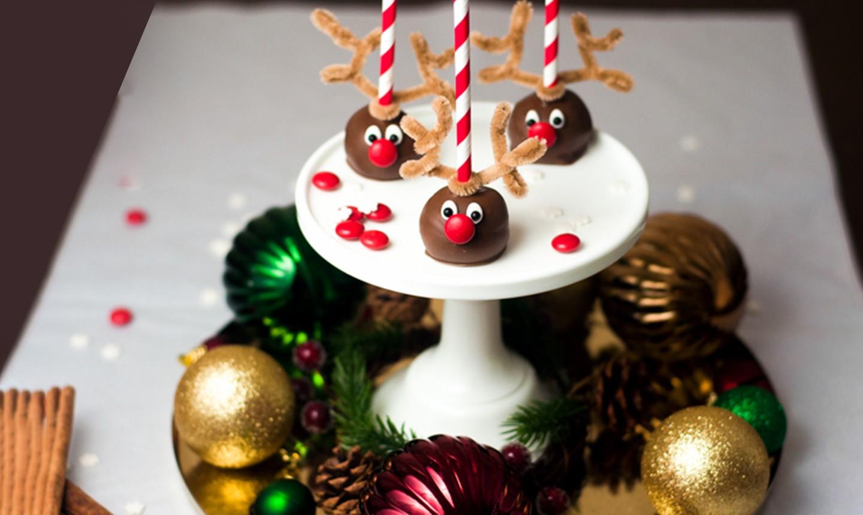reindeer cake pops on a platter