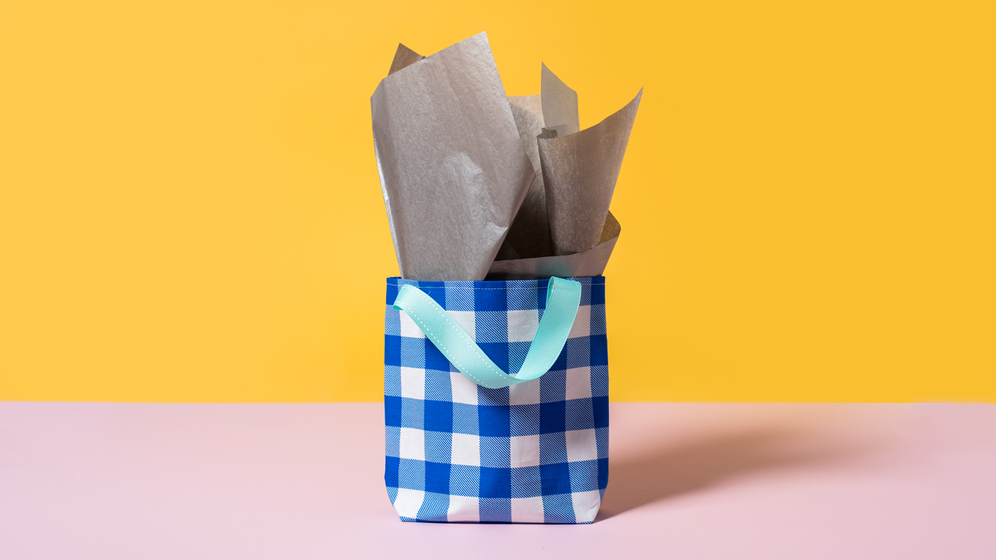 sewn plaid gift bag