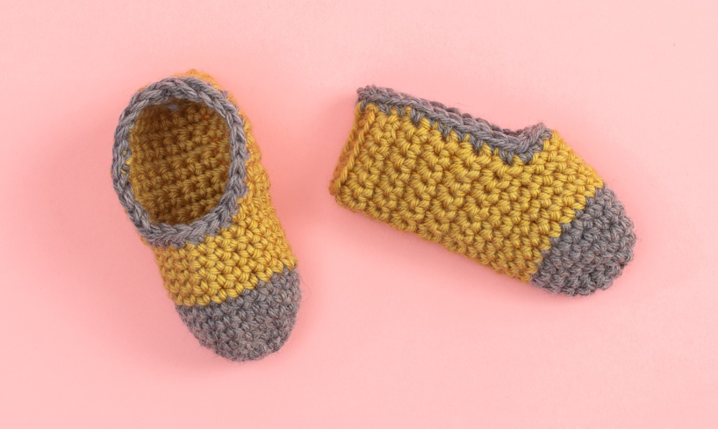 gray and gold crochet baby booties