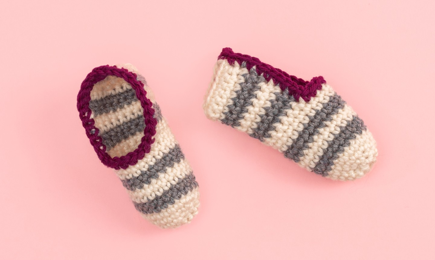 white and gray striped crochet baby booties