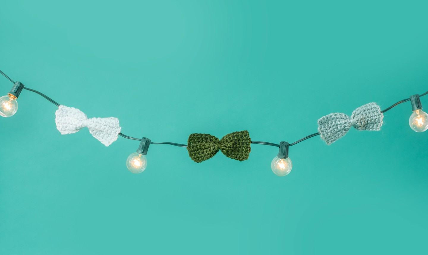 crochet bows on a light string