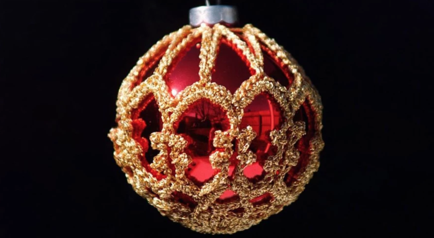 gold crochet ornament cover
