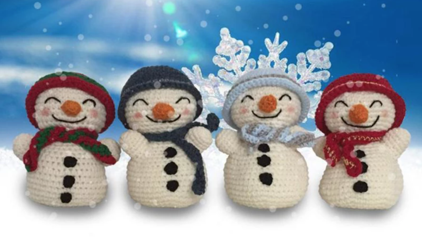 happy crochet snowmen