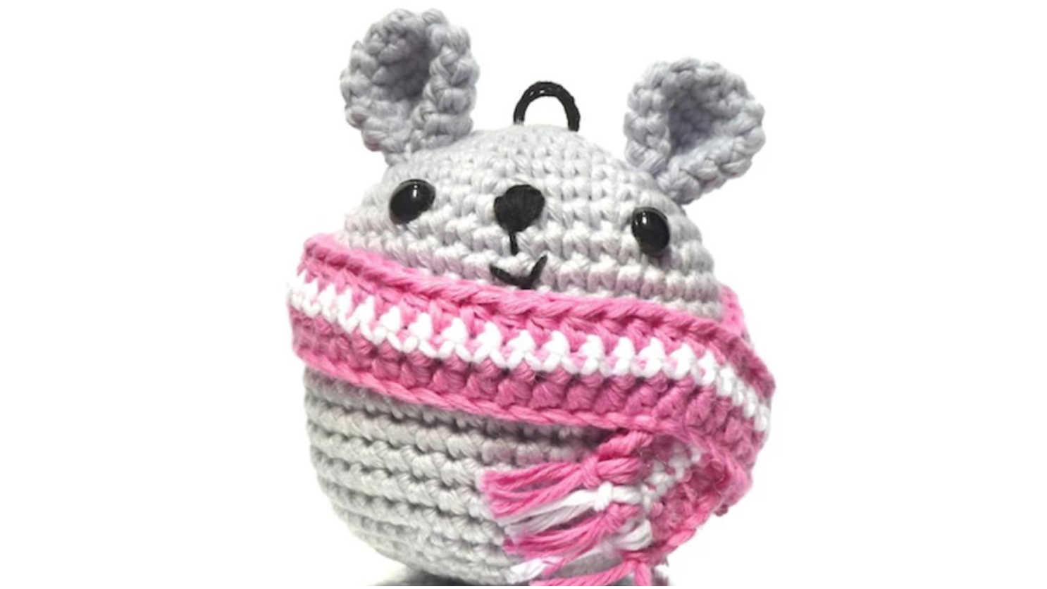 grey crochet mouse ornament
