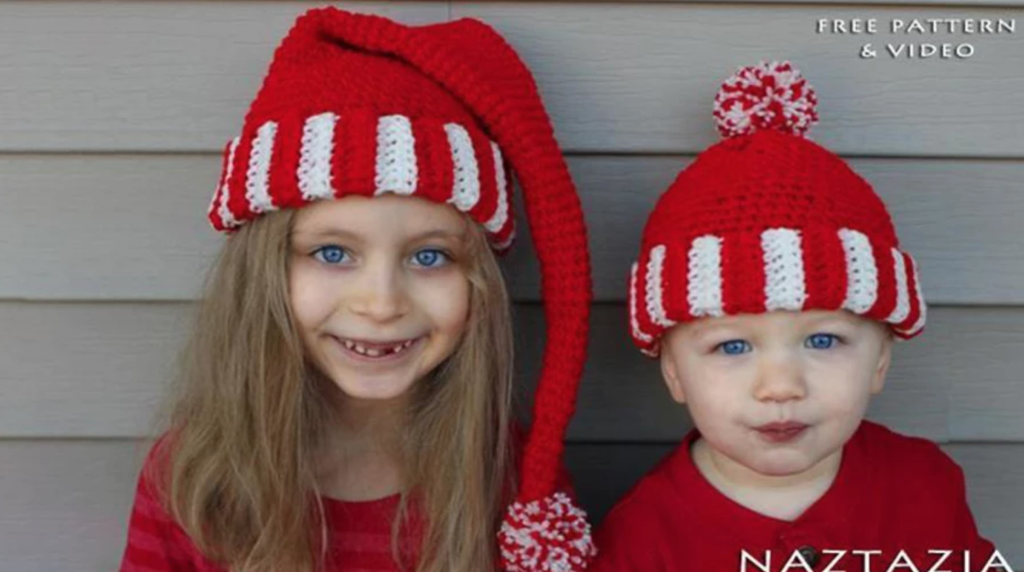 kids wearing crochet santa hats