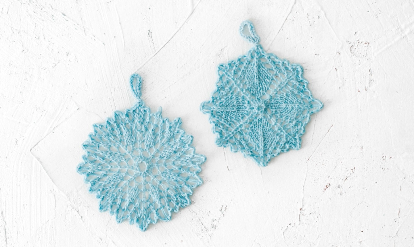 knitted snowflake ornaments