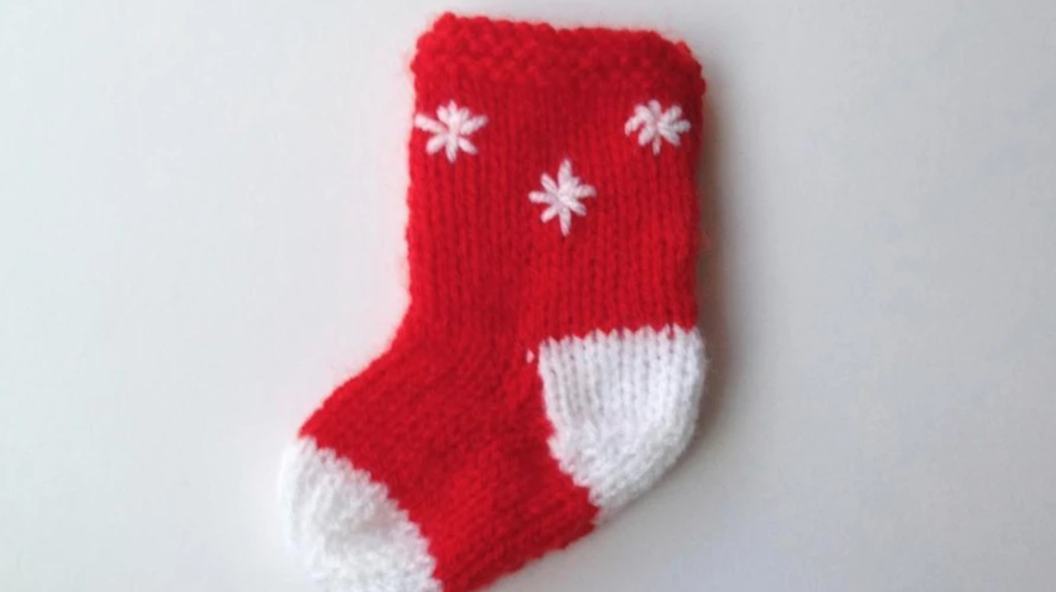 red and white knit small stocking