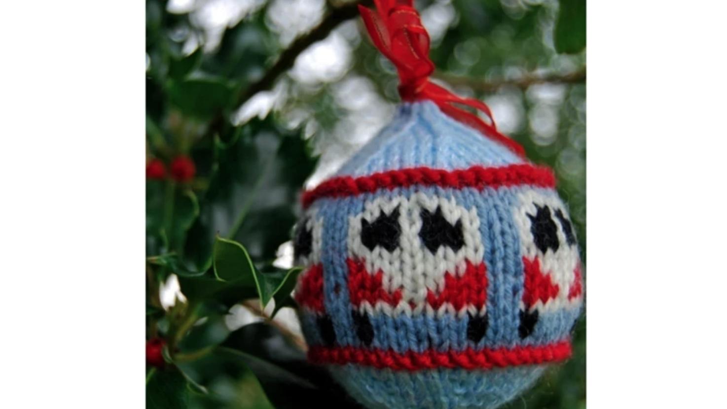 knit camper van ornament