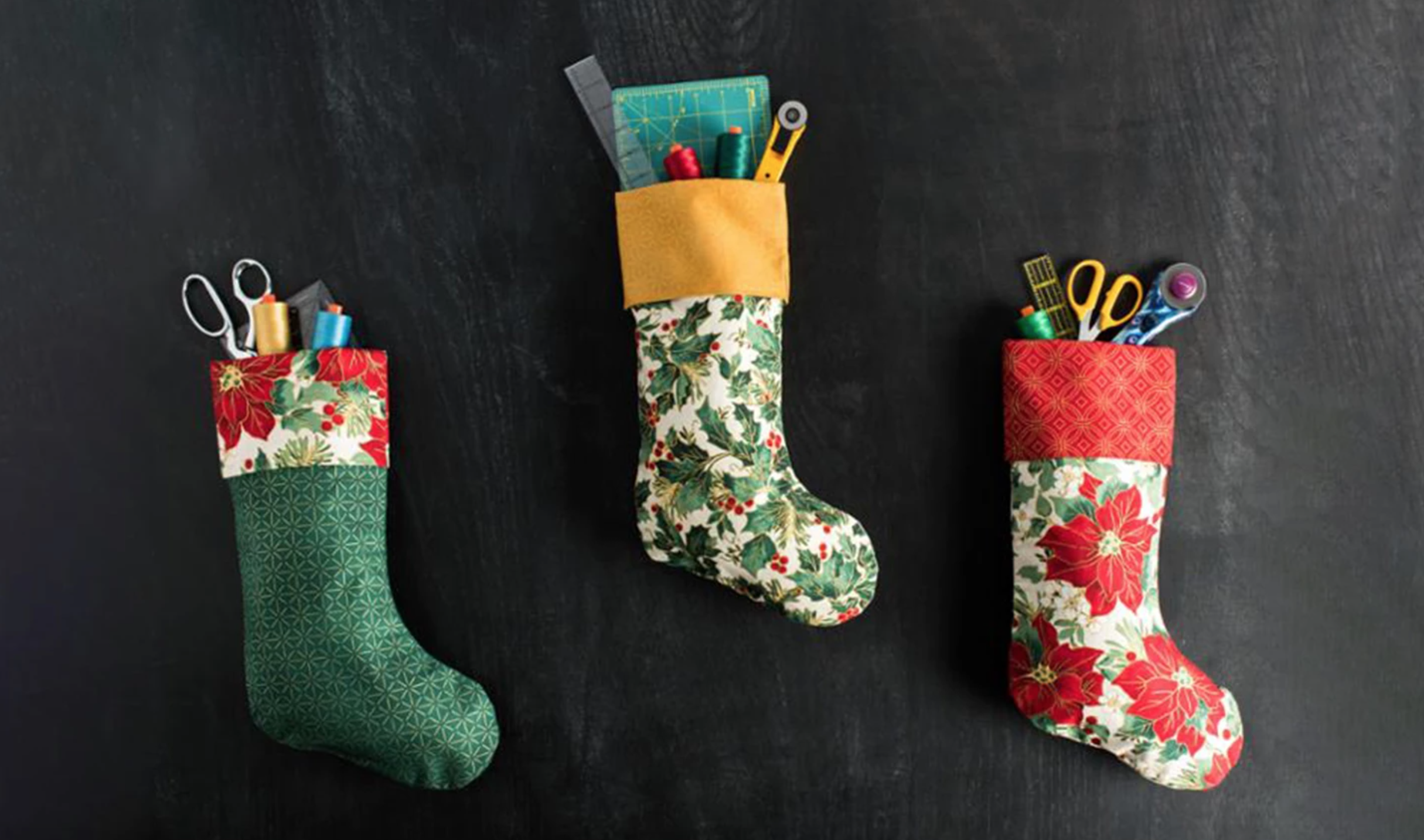 christmas stockings filled with craft supplies